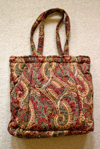 Extrerior Ellen Originals' Quilted Knitting Bag - Red, Green & Tan Paisley