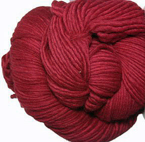 Malabrgo Merino Worsted yarn, color ravelry red 611