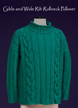 Cable & Wide Rib Rollneck Unisex Pullover