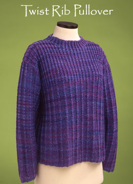 Vermont Fiber Designs Twist Rib Pullover knitting pattern.