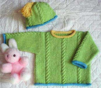 Seed and Cable Sweater Set knitting pattern