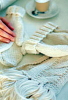 Jo Sharp Knitting Pattern Book Six - Village knitting pattern Vanilla & Biscotti. Jo Sharp Silkroad Ultra knitting yarn.