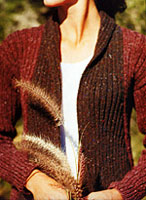 Jo Sharp SILKROAD ARAN TWEED knitting yarn  Ribbed Wrap Jacket knitting pattern  Jo Sharp Pattern Book - Contemporary Knitting