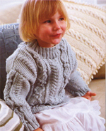 Children's Cabled Sweater  Pattern Book - Contemporary Knitting Two  Jo Sharp Classic DK Wool yarn