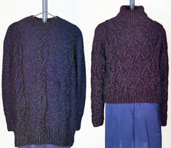 Vittadini Fall 1995 collection vol 5 - 1. Christina Cbled Tunic 2. Christina Cabled Turtleneck Pullover knitting patterns