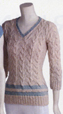 Adrienne Vittadini Felicia cabled v-neck knitting pattern