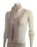 Adrienne Vittadini Martina Two Tone Pullover and Scarf