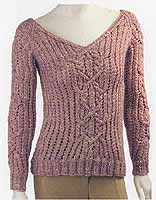 Adrienne Vittadini Fall Collection 2006 vol 28 Mia Cable & Pointelle Pullover knitting pattern
