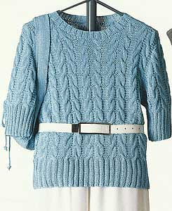 Vittadini Spring Collection 1995 vol 4 - Carina Short Sleeve Cabled Pullover knitting pattern