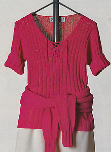 Vittadini Spring Collection 1995 vol 4 - Carina Poorboy Rib Lace-up V-Neck Pullover knitting pattern